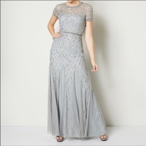 Adrianna Papell Silver Caged Gown